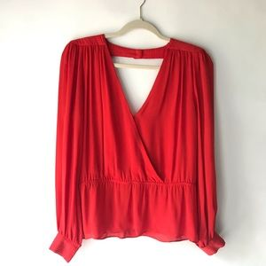 """Parker Red Silk V-Neck """"Mae"""" Blouse Size Small"""